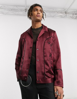 ASOS EDITION western revere harrington jacket in burgundy satin with embroidery