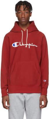 Champion Reverse Weave Red Big Script Logo Hoodie