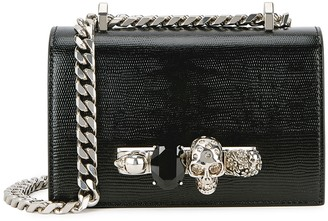 Alexander McQueen Jewelled Satchel Mini Black Leather Shoulder Bag