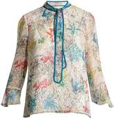 Peter Pilotto Neck-tie floral-print silk blouse