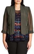 City Chic Plus Size Women's Sheer Sleeve Crop Blazer