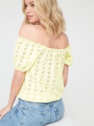 Very Puff Sleeve Bardot Top - Lemon