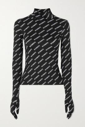 Vetements Printed Stretch-jersey Turtleneck Top