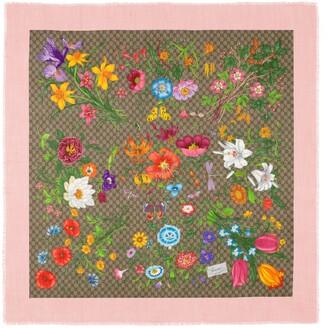 Gucci GG Flora print wool silk shawl