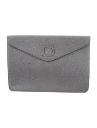 Delvaux Leather Envelope Clutch Grey
