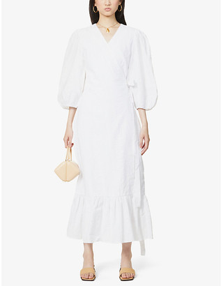Gestuz Hevin wrap-over cotton midi dress
