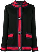 Gucci stripe panel hooded jacket - women - Silk/Acrylic/Plastic/glass - 40