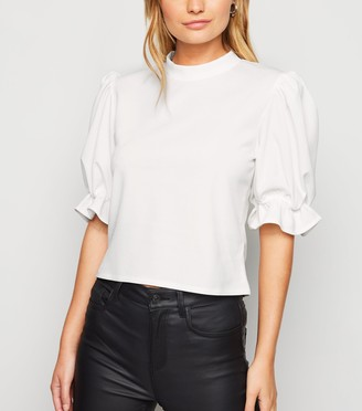 New Look Cameo Rose Frill Puff Sleeve Top