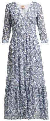 Le Sirenuse Le Sirenuse, Positano - Stella Moleculay Print Cotton Voile Midi Dress - Womens - Blue Print