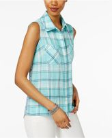Style and Co Petite Printed-Back Plaid Shirt, Only at Macy's