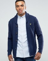 Lyle & Scott Cable Knit Shawl Cardigan Lambswool in Navy
