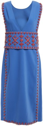 Tory Burch Bead-embellished Woven Midi Dress
