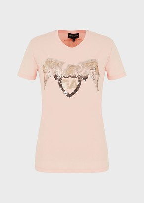 Emporio Armani Stretch Jersey T-Shirt With Sequinned Eagle And Logo