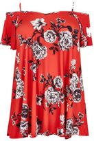 Yours Clothing YoursClothing Plus Size Womens Floral Cold Shoulder Frill Sleeve Jersey Cami Top