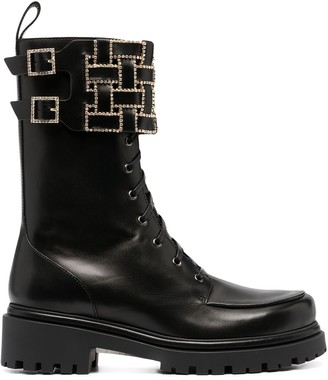Rene Caovilla Embellished Grid Strap Boots