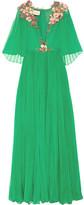 Gucci Embellished Plissé Silk-chiffon Gown - Emerald