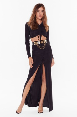 Nasty Gal Womens No Real Ruche Slinky Crop Top And Maxi Skirt Set - Black - 4
