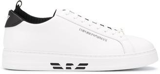 Emporio Armani Logo-Print Leather Sneakers