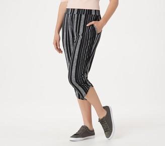 Susan Graver Petite Liquid Knit Crop Pants with Ruching Detail