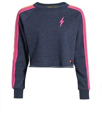 Aviator Nation Neon-Striped Fleece Sweatshirt