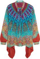 Etro Asymmetric Printed Silk Blouse - Blue