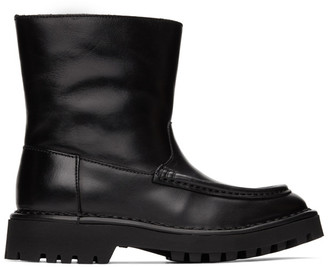 Kenzo Black Leather K-Mount Ankle Boots