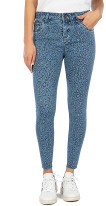 KUT from the Kloth Connie Leopard Print High Waist Ankle Skinny Jeans