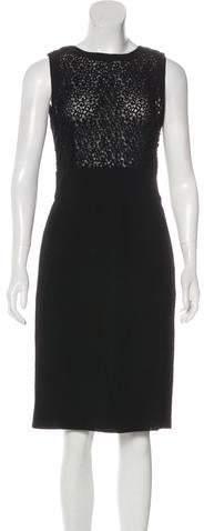 Valentino Lace-Paneled Virgin Wool Dress