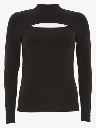 Mint Velvet Cutout Slim Knitted Top - Black