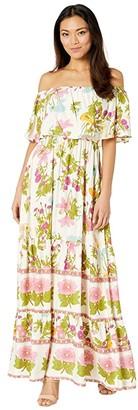 American Rose Hope Off-the-Shoulder Ruffle Maxi Dress (Cream/Multi) Women's Dress