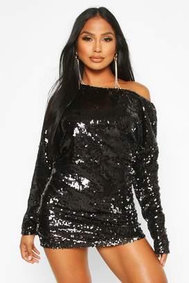 boohoo Slouch Sequin Mini Dress