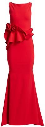 Chiara Boni Evan Ruffled Peplum Gown