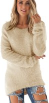 Ecowish Women's Long Sleeve Knit Blouse Pullover Loose Tops V Neck Autumn Sweater