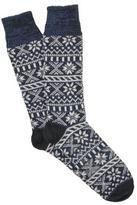 Corgi Wool Fairisle Sock in Navy