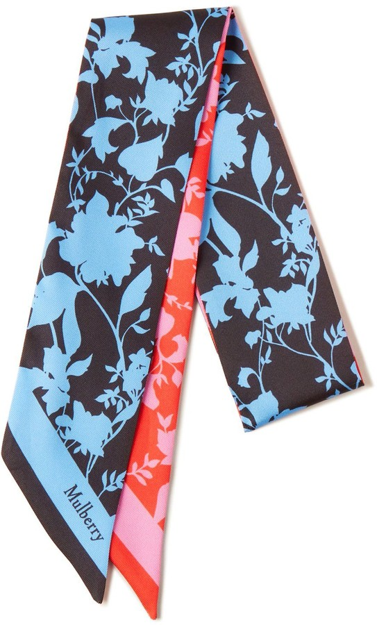 Mulberry Small Flora Silhouette Bag Scarf Black and Burnt Orange Recycled Polyester