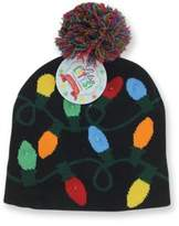 DM Lotsa Lites Flashing Holiday Knitted Hat Light Up Beanie (Black)