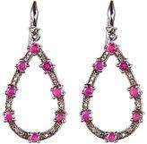 bavna Sterling Silver Diamond & Ruby Tear Drop Earrings