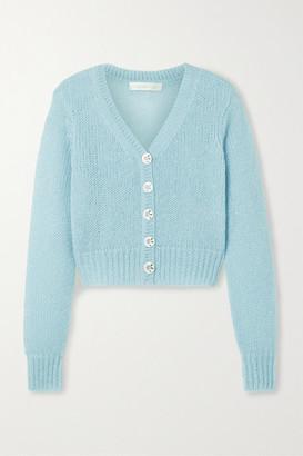 LoveShackFancy Folley Metallic Open-knit Cropped Cardigan - Sky blue