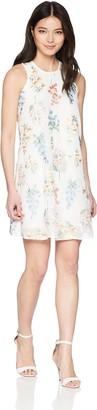 Calvin Klein Women's Chiffon Floral Embroidered Trapeze Dress