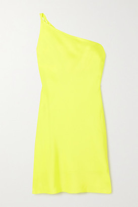 De La Vali Lithium One-shoulder Recycled Satin Mini Dress - Yellow
