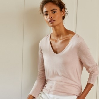 The White Company Jersey V-Neck Double-Layer T-Shirt , Pink, 8