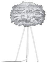 EOS Umage UMAGE - Mini Light Grey Feather White Tripod Table Lamp - Grey/White