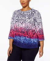 Alfred Dunner Plus Size Family Jewels Collection Ombré Dot Top