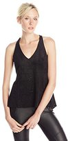 BCBGMAXAZRIA Women's Caralyn Perforated Ultra Suede V-Neck