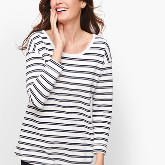 Talbots Mixed Stripe Back Cutout Top