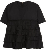 Comme des Garcons Tiered Ruffled Poplin Top - Black