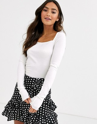 Pieces square neck ribbed jersey top-White