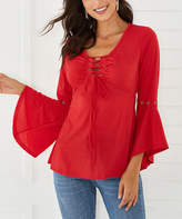Basico Women's Blouses Red - Red Lace-Up Bell-Sleeve Scoop Neck Tunic - Women