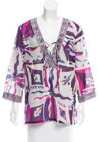 Emilio Pucci Abstract Print Lace Up Top
