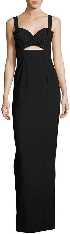 Black Halo Rosalita Sleeveless Lace-Trim Column Gown, Black